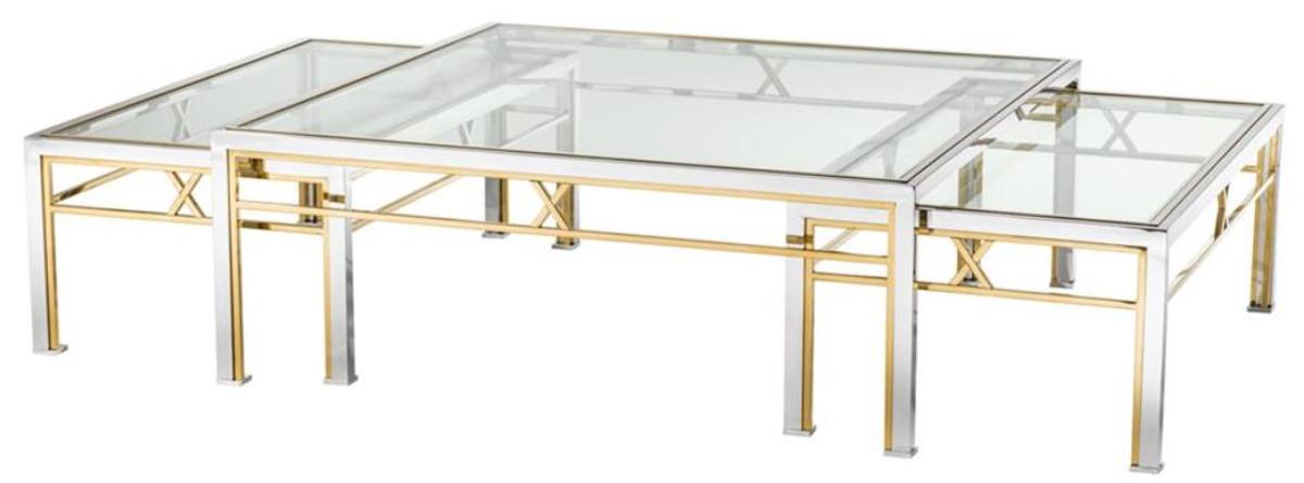 Casa Padrino Coffee Table Set Of 3 Silver Gold Luxury