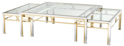 Casa Padrino coffee table set of 3 silver / gold - Luxury Living Room Table