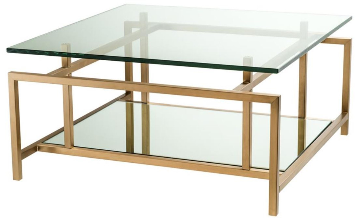 Casa Padrino Table Basse Laiton 70 X 70 X H 35 Cm Table Basse De Luxe