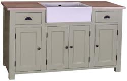 Casa Padrino Landhausstil Waschbeckenschrank Hellgrün / Naturfarben 155 x 65 x H. 90 cm - Waschtisch mit 4 Türen und 2 Schubladen