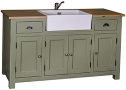 Casa Padrino country style washbasin cabinet green / natural 155 x 65 x H. 90 cm - Bathroom Cabinet with 4 Doors and 2 Drawers
