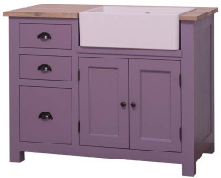 Casa Padrino country style sink cabinet with 2 doors and 3 drawers purple / natural 118 x 65 x H. 90 cm - Sink Cabinet in Country Style