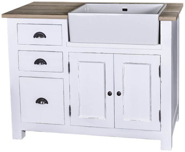 Casa Padrino country style sink cabinet with 2 doors and 3 drawers antique white / natural colors 118 x 65 x H. 90 cm - Shabby Chic Kitchen Furniture – Bild