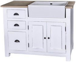 Casa Padrino country style sink cabinet with 2 doors and 3 drawers antique white / natural colors 118 x 65 x H. 90 cm - Shabby Chic Kitchen Furniture
