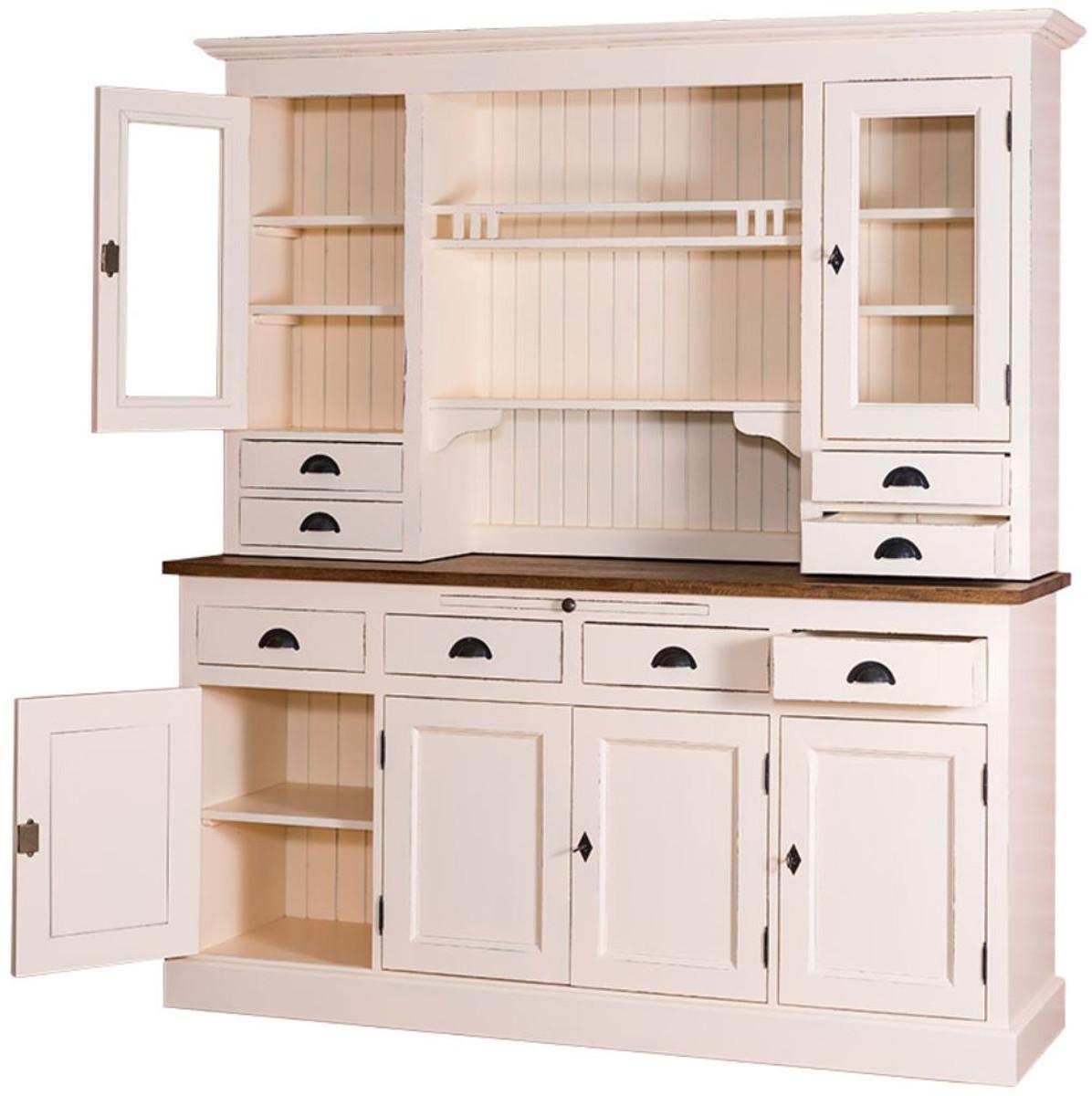 casa padrino landhausstil k chenschrank antik cremefarben braun 179 x 50 x h 197 cm 2. Black Bedroom Furniture Sets. Home Design Ideas