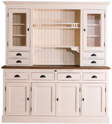 Casa Padrino Country Style Kitchen Cabinet Antique Cream / Brown 179 x 50 x H. 197 cm - 2 Piece Shabby Chic Kitchen Cabinet with 6 Doors and 8 Drawers