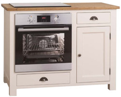 Casa Padrino country style stove cabinet with door and 2 drawers cream / natural 120 x 65 x H. 90 cm - Kitchen Furniture