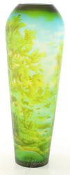 Casa Padrino Cameo Glass Vase Oakwood Multicolor Ø 16.2 x H 44 cm - Luxury Decorative Flower Vase