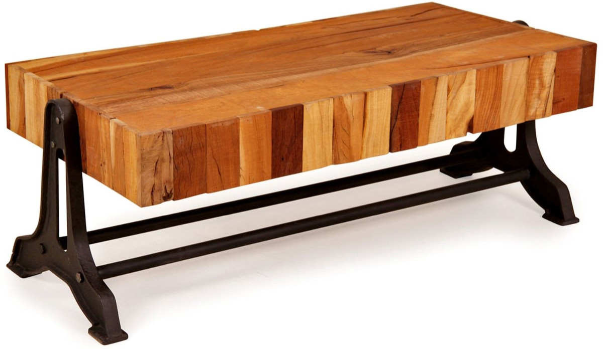 - Casa Padrino Country Style Coffee Table Natural / Black 120 X 60 X