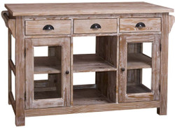 Casa Padrino country style kitchen island natural 135 x 65 x H. 90 cm - Country Style Kitchen Cabinet with 4 Glass Doors and 6 Drawers