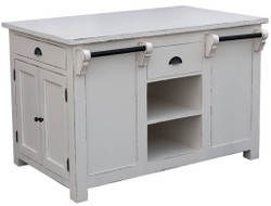 Casa Padrino Country Style Kitchen Island Antique White 135 x 85 x H. 90 cm - Shabby Chic Kitchen Furniture