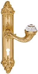 Casa Padrino Luxury Art Nouveau Door Handle with Plate and Swarovski Crystal Glass Gold 15.5 x H. 33.5 cm - Hotel Accessories