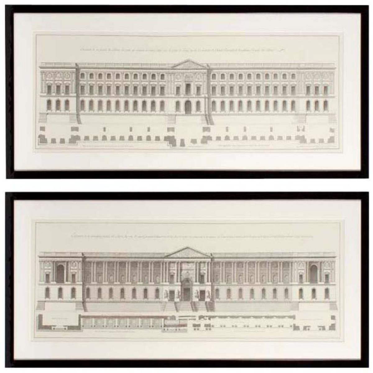 Casa Padrino Bilder / Kunstdruck Set Fassade vom Louvre Mehrfarbig ...