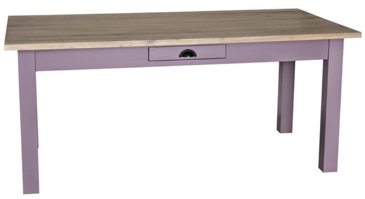Casa Padrino tavolo da pranzo stile country con cassetti viola / colori  naturali - Varie Dimensioni - Mobili per Sala da Pranzo