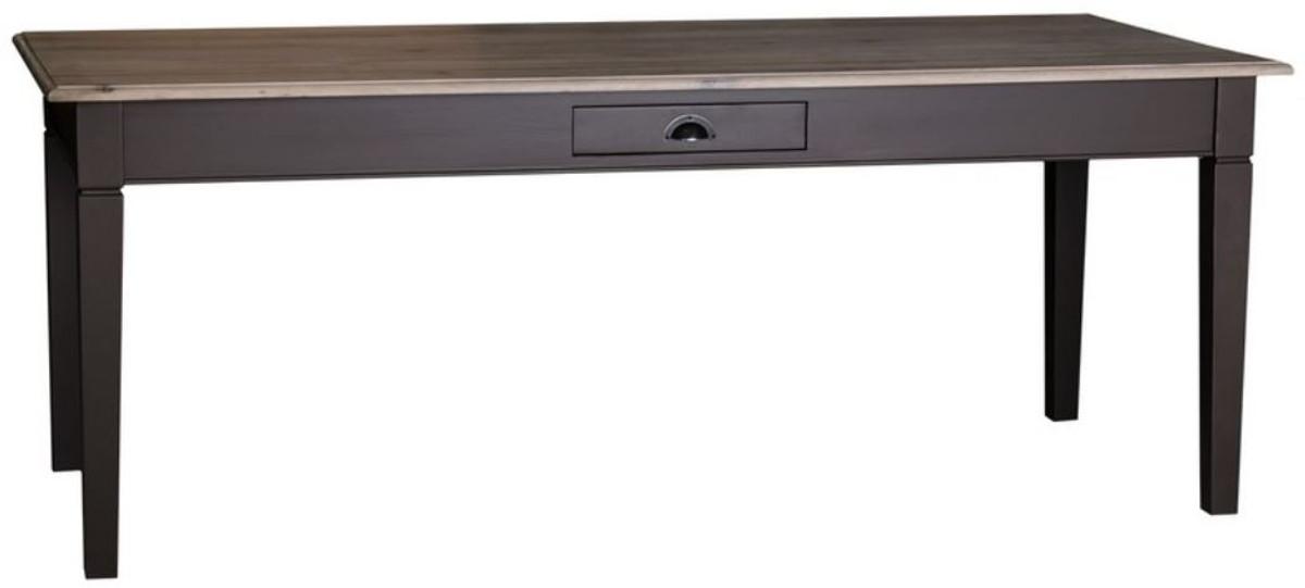 Casa Padrino tavolo da cucina stile country nero / colori naturali - Varie  Misure - Tavolo da Pranzo in Stile Country con Cassetto