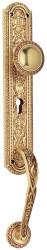 Casa Padrino Art Nouveau door handle / doorknob with plate and pull handle french gold 7 x H. 50.5 cm - Luxury Quality