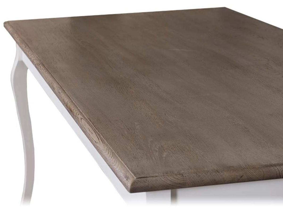 Casa Padrino tavolo da cucina stile country bianco / marrone - Varie  Dimensioni - Tavolo da Pranzo con Gambe Curve