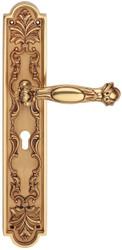 Casa Padrino Baroque Door Handle with Plate French Gold 18.4 x H 41.8 cm - Baroque Style Door Handle