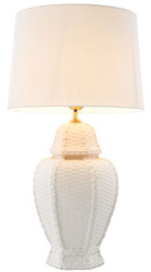 Casa Padrino luxury ceramic table lamp white Ø 43 x H. 80 cm - Hotel & Restaurant Table Lamp