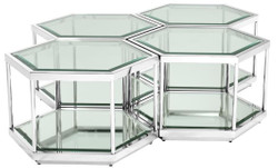 Casa Padrino luxury coffee table / living room table set of 4 silver 60 x 52 x H. 36 cm - Living Room Furniture