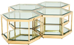 Casa Padrino luxury coffee table / living room table set of 4 gold 60 x 52 x H. 36 cm - Living Room Furniture