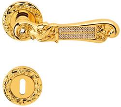 Casa Padrino luxury baroque door handle with rose gold 14.5 x H. 5.3 cm - Door Handle with Swarovski Crystal Glass