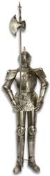 Casa Padrino knight armor with lance antique silver H. 199 cm - Medieval Deco Iron Armor