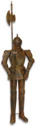 Casa Padrino knight armor with lance antique brown H. 215 cm - Medieval Deco Iron Armor in Rust Optics