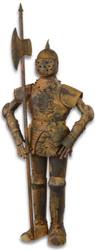 Casa Padrino medieval armor with lance antique brown H. 92 cm - Deco Iron Armor in Rust Optics