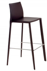 Casa Padrino Designer Real Leather Bar Chair Coffee - Bar Stools - Furniture Restaurant Hotel