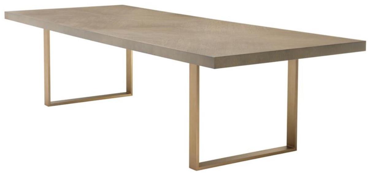 Casa Padrino mesa de comedor mesa de cocina marrón / latón 300 x 115 ...