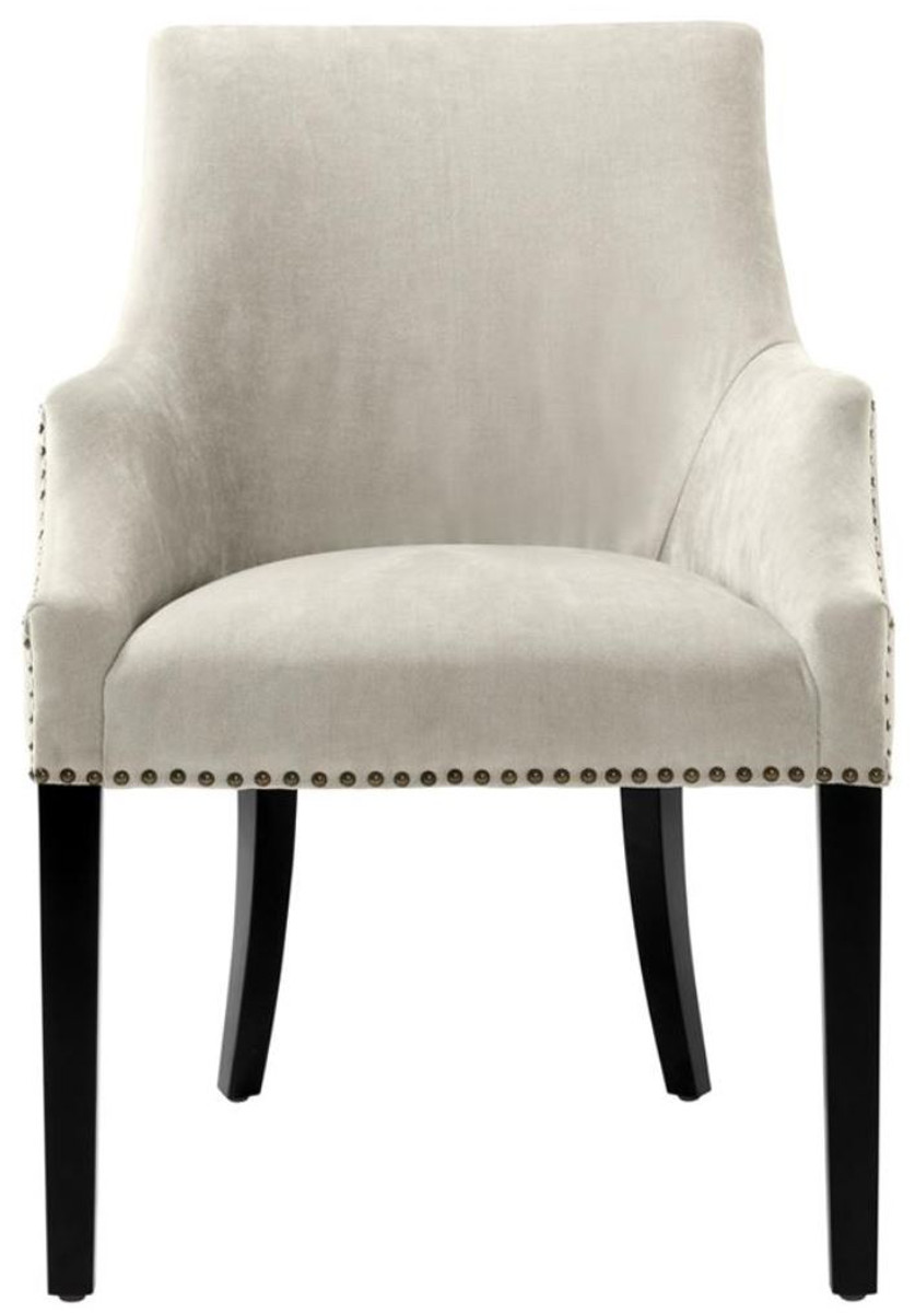 Casa Padrino silla de comedor de lujo con reposabrazos color arena / negro  60 x 71 x H. 92 cm - Mobiliario de Comedor