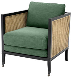 Casa Padrino Luxury Armchair Green / Black / Natural 71 x 68.5 x H. 84 cm - Hotel Furniture