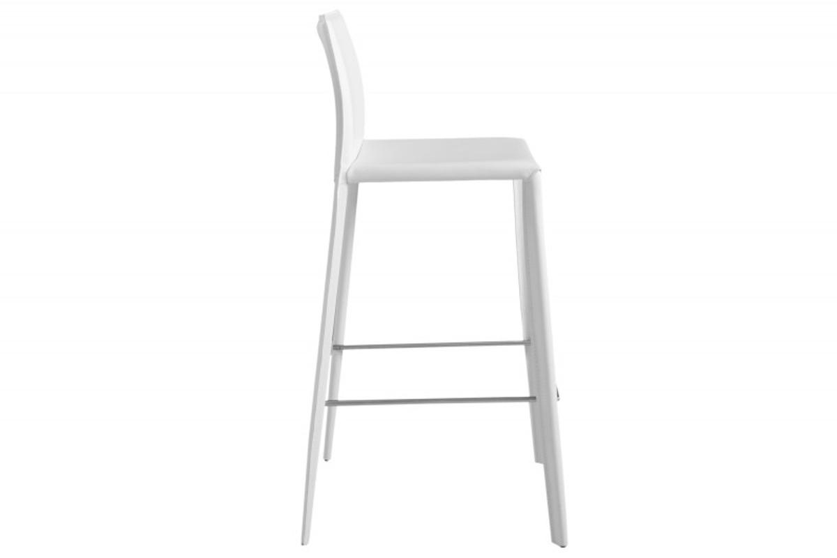 Sedia da bar di design in vera pelle di design casa padrino bianco