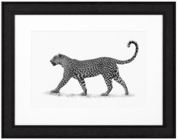 Casa Padrino Luxury Image Leopard Black / White 93 x H. 73 cm - Art Print with Wooden Frame