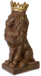 Casa Padrino Sculpture Lion with Crown Antique Brown / Gold 19.2 x 28.9 x H. 56.5 cm - Baroque & Art Nouveau Decoration Accessories