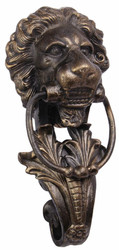 Casa Padrino baroque cast iron lion head door knocker bronze H. 41 cm - Baroque Decoration Accessories