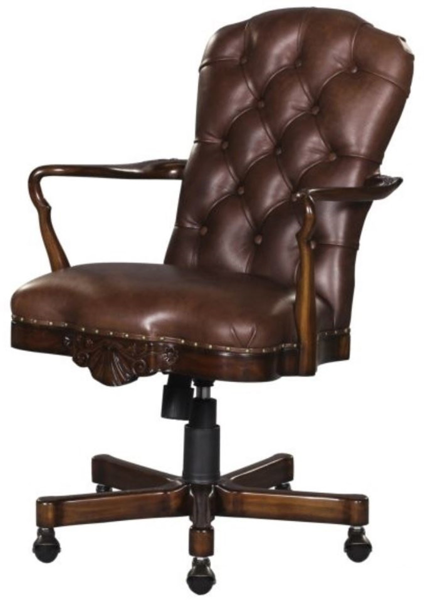 Picture of: Casa Padrino Luxury Genuine Leather Office Chair Swivel Chair Brown 63 X 68 X H 102 Cm Luxury Office Furniture