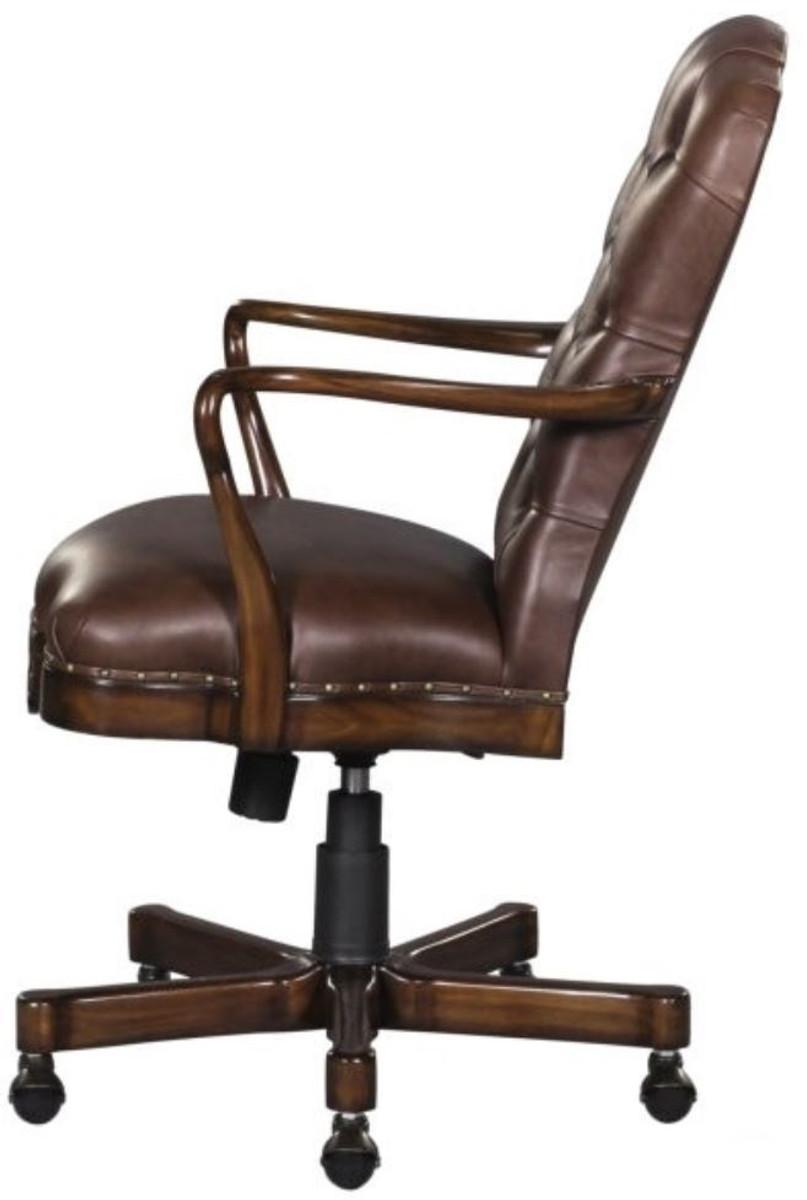 Casa Padrino silla de oficina / silla giratoria de cuero genuino marron ...