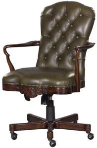 Casa Padrino silla de oficina de cuero genuino marrón / verde 63 x ...