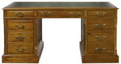 Casa Padrino luxury desk with door and 6 drawers brown / green 160 x 80 x H. 79 cm - Office Furniture