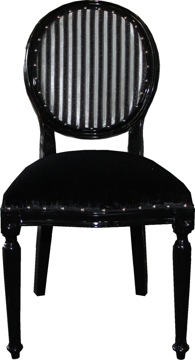Casa Padrino Barock Medaillon Luxus Esszimmer Stuhl Ohne Armlehnen In  Schwarz / Silber   Limited Edition