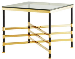 Casa Padrino Living Room Side Table Gold / Black 65 x 65 x H. 55 cm - Luxury Living Room Furniture