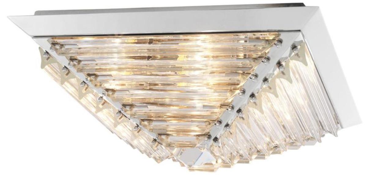 Casa Padrino Luxus Deckenleuchte Mit Kristallglas Silber 49 X 49 X H