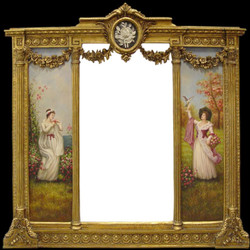 Casa Padrino Luxury Baroque Wall Mirror Gold - B. 152.5 cm x L. 146.4 cm - Golden Mirror with Floral Ornaments - Right and left with Baroque Paintings
