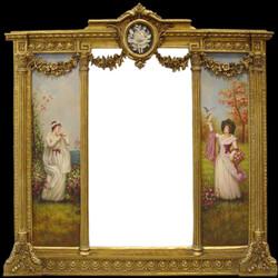 Casa Padrino Luxus Barock Wandspiegel Gold - B. 152,5 cm x  L. 146,4 cm - Goldener Spiegel mit Blumen Ornamenten - Rechts und Links mit Barock Gemälden