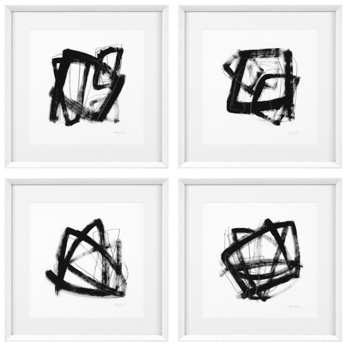 casa padrino designer deko bilder 4er set schwarz / weiß 58 x h. 58
