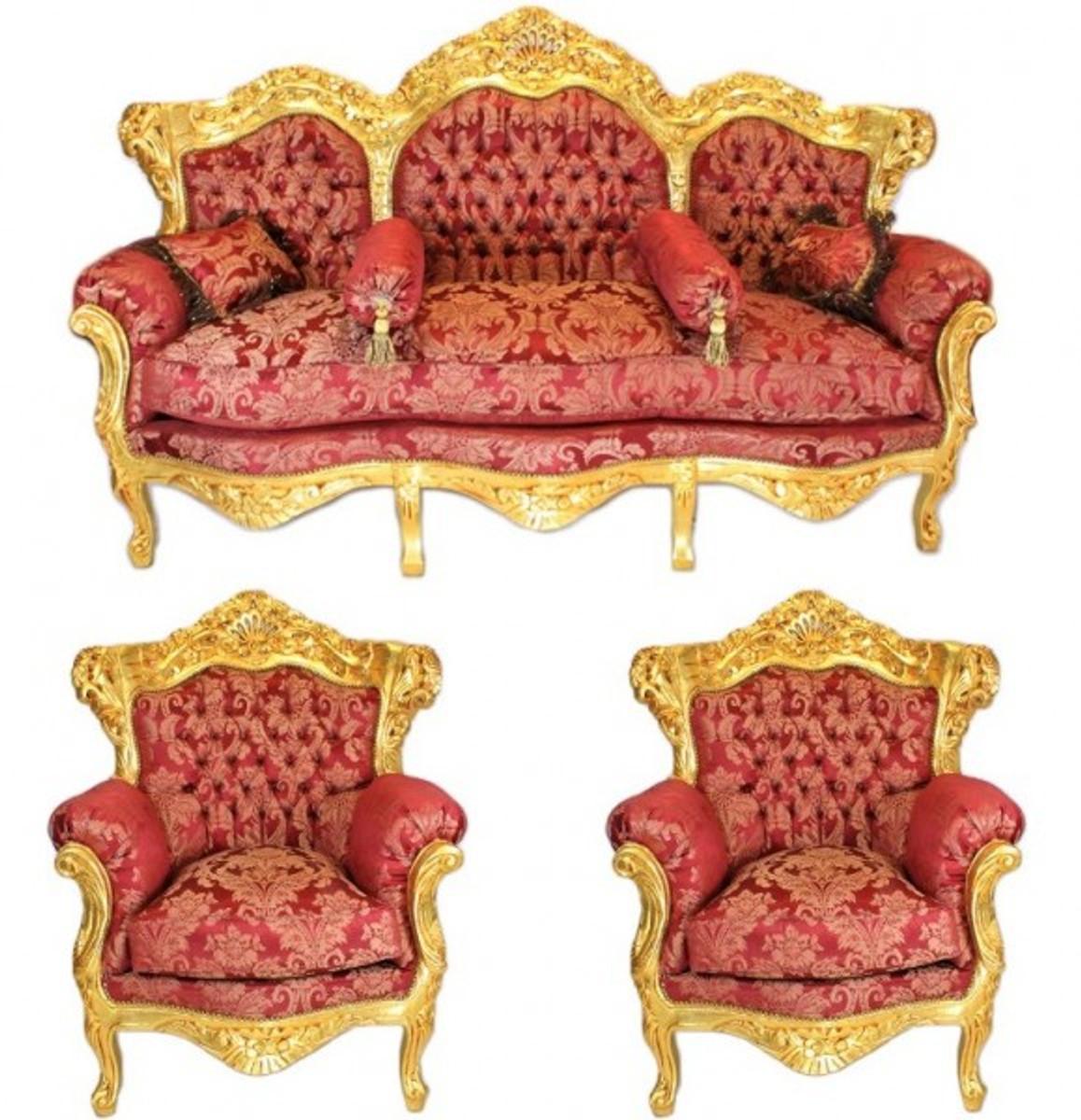 Casa Padrino Barock Wohnzimmer Set Bordeaux Muster / Gold   3er Sofa + 2  Sessel