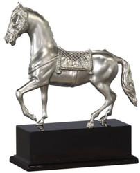 Casa Padrino Luxus Bronzefigur Pferd mit Holzsockel Silber / Antik Schwarz 31,5 x 12,5 x H. 37,3 cm - Versilberte Deko Figur