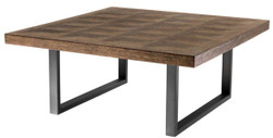 Casa Padrino Coffee Table Brown / Bronze 100 x 100 x H.43 cm - Luxury Coffee Table with Oak Veneer Table Top